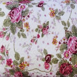 Kit Colcha King Argivai Velour Floral 3 Peças