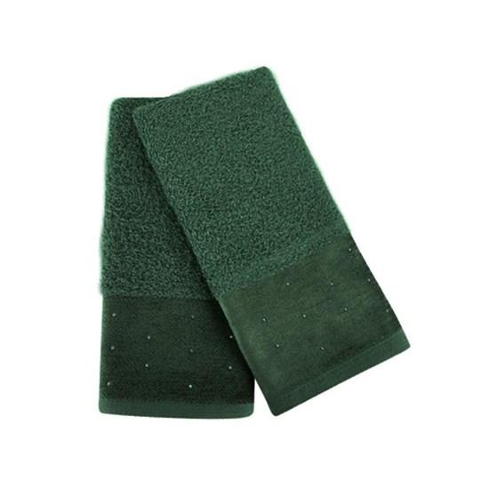 Kit com 2 Toalhas de lavabo Cristal Atlântica Verde Musgo