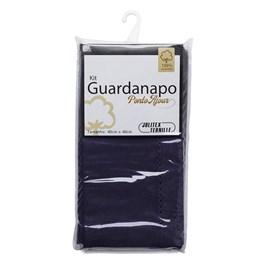 Kit Guardanapo Algodão Ponto Ajour 40cm x 40cm Jolitex Azul Marinho 2 Peças