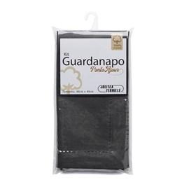 Kit Guardanapo Algodão Ponto Ajour 40cm x 40cm Jolitex Grafite 2 Peças