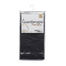 Kit Guardanapo Algodão Ponto Ajour 40cm x 40cm Jolitex Preto 2 Peças