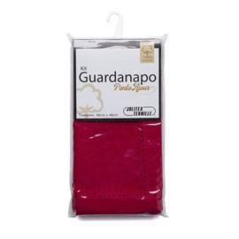Kit Guardanapo Algodão Ponto Ajour 40cm x 40cm Jolitex Vermelho 2 Peças