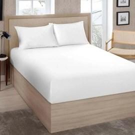 Lençol Avulso King Size Com Elástico Premium Percal 200 Fios Branco