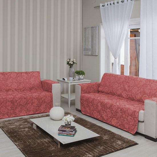 Protetor Para Sofá Cristal Jacquard Vermelho Floral