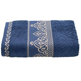 Toalha de Banho Premium Barroca Azul escuro