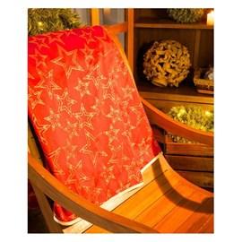 Toalha de Mesa Karsten Natal 1,75x1,75 Golden Estrelas Vermelho