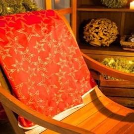Toalha de Mesa Karsten Natal 1,75x3,20 Golden Estrelas Vermelho