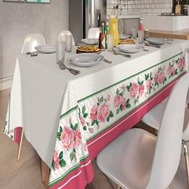 Toalha de Mesa Quadrada Teka Basic 1,40m x 1,40m Rosas