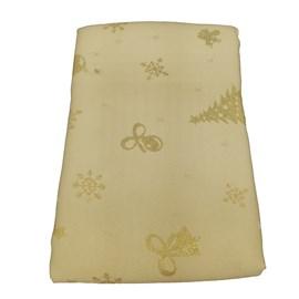 Toalha de Mesa Raner Natal 1,55m x 2,95m Arvore e Flocos Dourados