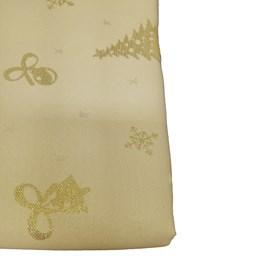 Toalha de Mesa Raner Natal 1,55m x 3,95m Arvore e Flocos Dourados