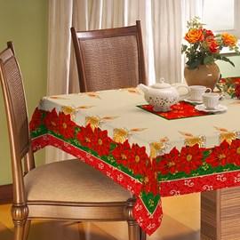 Toalha de Mesa Rústica Raner Natal 1,40x2,40 Flores e Velas
