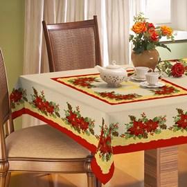 Toalha de Mesa Rústica Raner Natal 1,40x2,40 Rendas e Flores